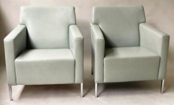 MOROSO STEEL CHAIRS, a pair, by Enrico Franzolini, 72cm W. (2)