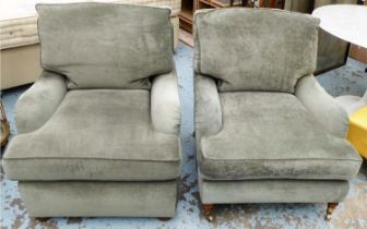 ATTRIBUTED TO SINCLAIR MELSON ARMCHAIRS, two, 86cm W x 78cm H. (2)