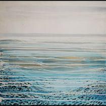 ANDREW LANGLEY 'The Brancaster Inlet', giclee on canvas, 80cm, label verso.