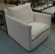 ARMCHAIR, contemporary white linen upholstered, 84cm W.