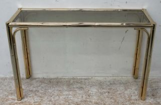 CONSOLE TABLE, 73cm H x 119cm x 39cm, brass with tinted glass top.
