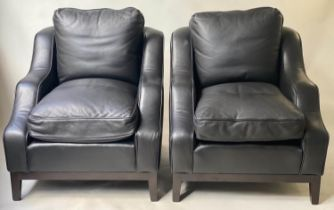 DUDGEON ARMCHAIRS, a pair, bespoke piped grained black leather with feather cushions by Dudgeon
