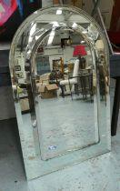 WALL MIRROR, Modernist style, arch top, 110cm x 70cm.