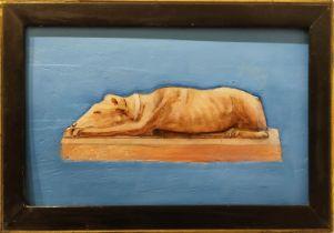 HENRY ARTHUR FAIRHURST 'Study of a Sleeping Hound', oil on board, 16cm x 29cm, framed.