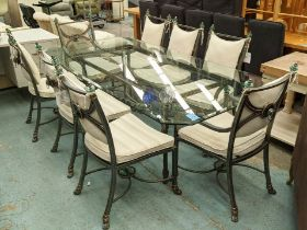 DINING TABLE, 111cm x 221cm x 74cm H, the glass top on a metal base and eight chairs, including