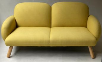 SOFA, contemporary pale yellow stitched felt with padded back and arms and splay supports, 160cm W x