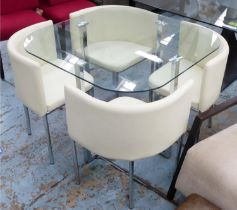 KITCHEN TABLE, 100cm x 76cm H x 100cm with a glass top and four cream upholstered chairs. (5)