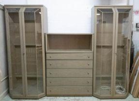 HULSTA DISPLAY CABINET, 200cm H x 265cm x 50cm, in three sections.
