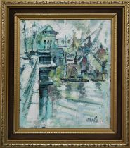 KEITH STEPHENS, 'On the Thames', oil on board, 30cm x 24cm, signed, framed.