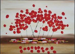 PIERO MONTANELLI 'Poppies', oil on canvas, 90cm x 65cm.