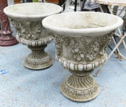 PLANTERS, two, with floral swag details, 65cm. (2)