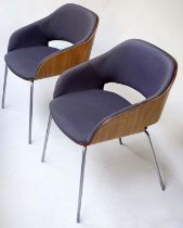 HALO BONAIRE ARMCHAIRS, a pair, 78cm H, of compact dimensions, walnut and grey upholstery. (2)