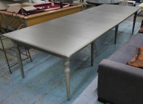 OKA STOLA EXTENDING DINING TABLE, 290-350cm L x 120cm D x 79cm, grey painted.