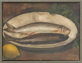 FRENCH SCHOOL 'Study of Two Fish with Lemon', oil on canvas, signed Jim Seroy, 30cm x 40cm.