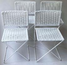 TERRACE/DINING CHAIRS, a set of four, 76cm H, white weatherproof woven rattan, with metal frames. (
