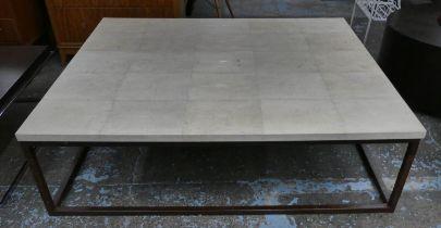 LOW TABLE, 140cm x 110.5cm x 42cm, faux shagreen top.