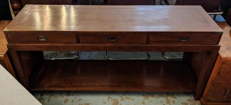 CAMPAIGN STYLE CONSOLE TABLE ON STAND, 162cm L x 76.5cm H x 47.5cm D oak with three drawers above
