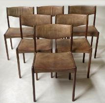 SAX DINING CHAIRS, a set of six, 81cm H, Danish rosewood, with grained leather seats (stamped '