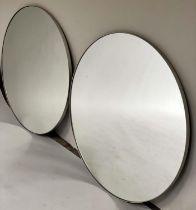 WALL MIRRORS, a pair, circular white, metal framed, 80cm Diam. (2)