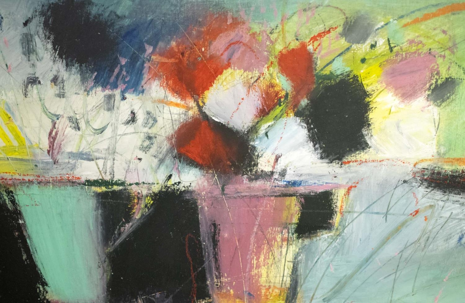 JUSTINE LOIS THORPE (Contemporary British) 'Still Life with Cups of Flowers', 2014, pastel, - Image 3 of 8