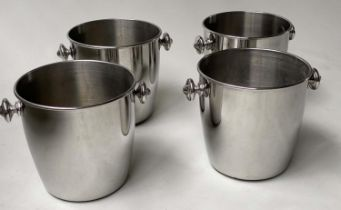 WINE COOLERS, a set of four, polished stainless steel with handles, 24cm H x 31cm W.