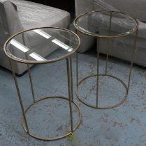 SIDE TABLES, two, 66cm x 46.5cm Diam, 1960's French style, gilt metal and glass. (2)