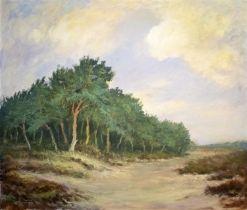 J. HEYNDERICK (20th Century Dutch) 'A Grove', oil on canvas, signed lower left, 70cm H x 35cm W.