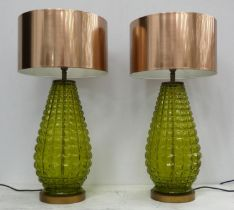 TABLE LAMPS, two, 69cm H, with shades, contemporary green glass design. (2)