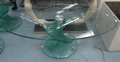 GLASS HELIX LOW TABLE, 119cm x 65cm x 45cm.