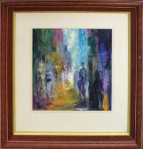 LEON GOODMAN (Contemporary British) 'City at Dusk', acrylic on canvas, signed, 40cm H x 35cm W,