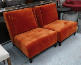 COCKTAIL CHAIRS, a pair, 73cm W, contemporary orange velvet upholstered. (2)