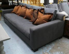 BEN WHISTLER SOFA, 260cm W, contemporary grey fabric upholstered with various cushions. (2)