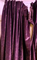 CURTAINS, a pair, 93cm gathered x 250cm drop approx., purple velvet, lined and interlined. (2)
