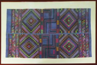 HAND-EMBROIDERED TEXTILE, 60cm x 100cm, South American, with neon coloured thread detailing, framed.
