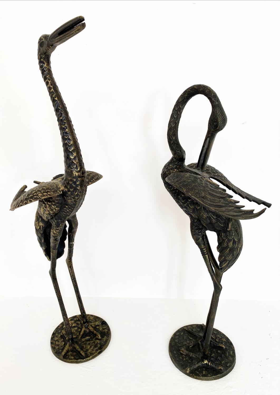 CONTEMPORARY SCHOOL, 85cm x 26cm, sculptural studies of two cranes. (2)