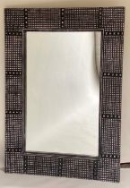 DANYA WALL MIRROR, rectangular Moorish style, silver beaded frame, 92cm W x 122cm H.