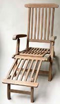 SKYLINE GARDEN STEAMER ARMCHAIR, 140cm x 59cm x 95cm, teak slatted, fully reclining with foot rest.
