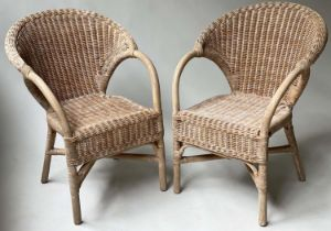 TERRACE ARMCHAIRS, a pair, rattan framed and wicker cane panelled, 63cm W. (2)