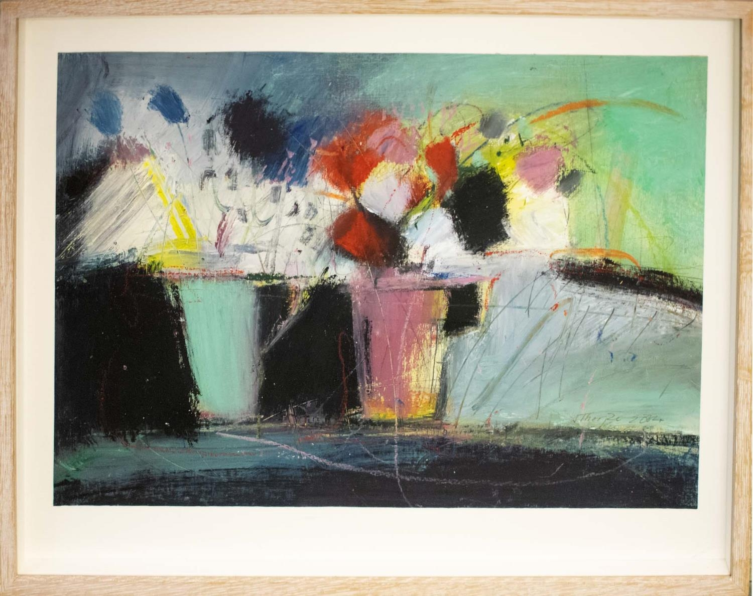 JUSTINE LOIS THORPE (Contemporary British) 'Still Life with Cups of Flowers', 2014, pastel, - Image 2 of 8