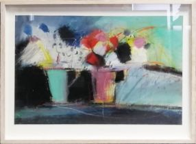 JUSTINE LOIS THORPE (Contemporary British) 'Still Life with Cups of Flowers', 2014, pastel,