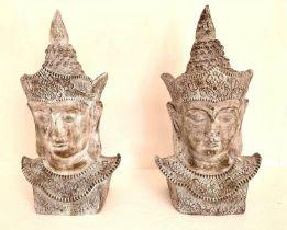BUDDHA HEADS, a pair, 75cm x 40cm x 30cm, ceramic. (2)