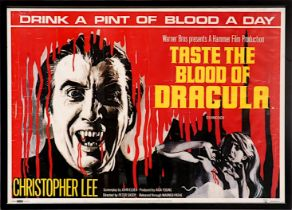 'DRINK A PINT OF BLOOD A DAY' Hammer Horror film poster from Taste the Blood of Dracula with