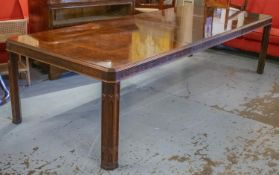 DINING TABLE, 75cm H x 118cm W x 194cm L, extended 298cm, Chippendale style burr veneered with