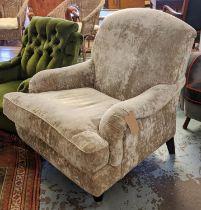 ARMCHAIR, 89cm W x 93cm H Howard style with silver grey velvet upholstery.