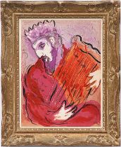 MARC CHAGALL 'David and his Harp', 1956, very rare original colour lithograph, from the Bible suite,