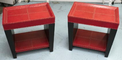 SIDE TABLES, a pair, 50.5cm x 35cm x 46cm, black and red leathered finish. (2)