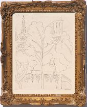 HENRI MATISSE 'Notre Dame de Paris', etching on vellum, signed in the plate, French frame, 38cm x