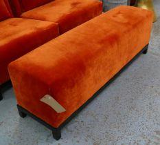 LONG STOOL, 129.5cm x 34.5cm x 43.5cm, contemporary orange velvet.