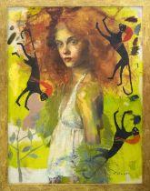 CHARLES DWYER (Contemporary American) 'Aphrodite's Dream', oil on canvas, 100cm H x 75cm W, framed.