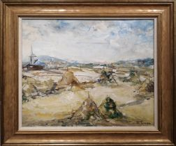 F. TOLLEN 'Landscape with Hay Bells and Church', oil on canvas, signed, 43cm x 48cm, framed.